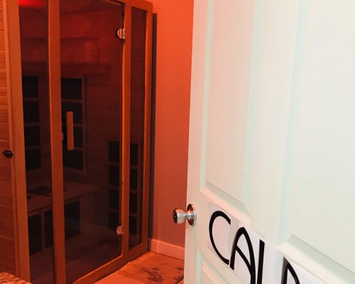 Calm features our walk in sauna unit with Red Chromotherapy