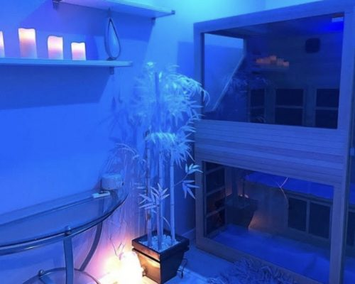 Unity features our walk in sauna unit with Blue Chromotherapy, one or two people can sauna in this unit